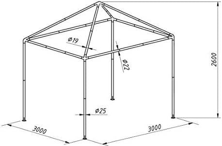 SORARA Gazebo | Green | 300 x 300 cm | 10 kg | Easy to Set Up Square Outdoor Canopy and Shelter
