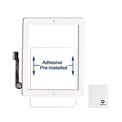 FixCracked Touch Screen Replacement Parts Digitizer Glass Assembly for Ipad 4 (White) (Screen Replacement A1458 Ipad 4)