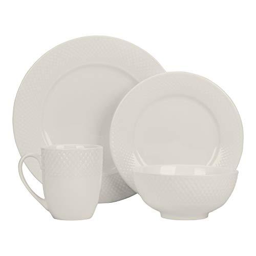 Strawberry Street Cream - 10 Strawberry Street WV-16-WHT Basket Weave 16 Pc Dinnerware Set, Service for 4, Cream White