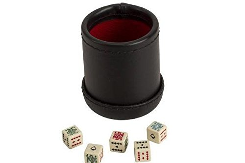 CHH SS-CQG-7815 Black/Cream Color Deluxe Leather Like Dice Cup with 5 Poker - Las Vegas Bazaar Grand