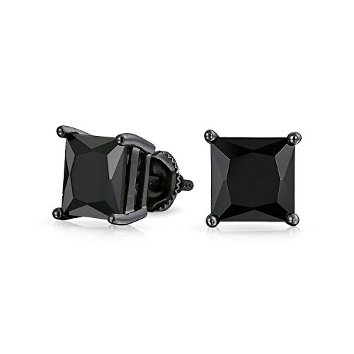 3.5CT Black On Black Square Princess Cut Cubic Zirconia Stud Earrings For Men Women CZ Screw Back Plated Sterling Silver
