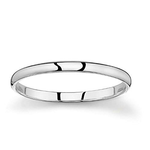 Yesido. Silver Ring High Polish Plain Dome Tarnish Resistant Comfort Fit Wedding Band Ring
