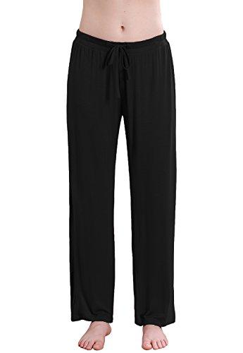 - Vislivin Women's Stretch Knit Pajama Pants Modal Sleep Pant Black Wide L