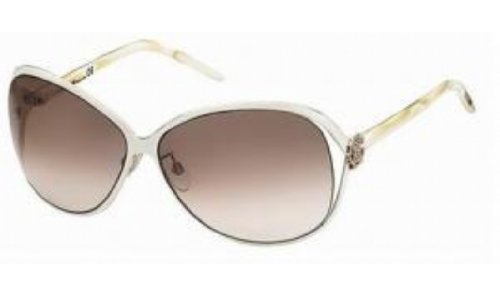 Roberto Cavalli Women's RC500 Round Sunglasses,Ivory with Rose Gold Frame/Brown Silver Lens,one - Exclusive Sunwear