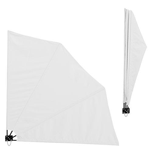 [casa.pro] Balkon - Fächermarkise (weiß)(160 x 160 cm) Sichtschutz / Seitenmarkise klappbar / Balkonumspannung / Wandklappschirm