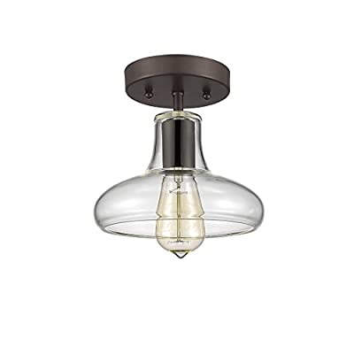 "Chloe Lighting CH854009CL08-SF1 Industrial Industrial-Style 1 Light Rubbed Bronze Semi-Flush Ceiling Fixture 8"" Shade"