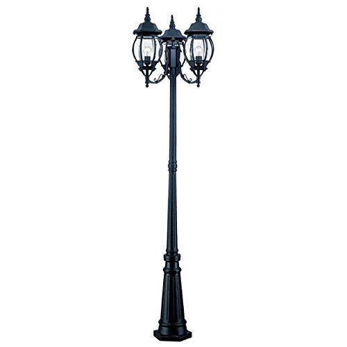 Acclaim 5179BK Chateau Collection 3-Head Surface Mount Outdoor Combination Post Light, Matte Black by Acclaim