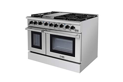 Thor Kitchen 48″ Stainless Steel Gas Range Black Porcelain Drip Pan with Double Oven Automatic Re-ignition Safety LRG4801U