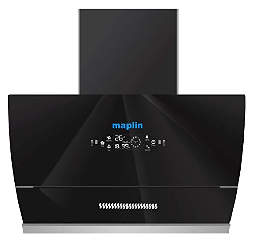 Maplin Kitchen Chimney (Model Glass 90) with Auto Glass Opening in 90 cm (Black) with Features Auto Clean, LPG Sensor, Wave Sensor Auto Glass Opening GO90 in 90 cm (Black)