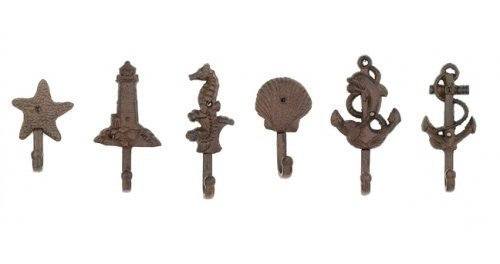Lighthouse Dolphin Anchor Starfish Seahorse Shell Cast Iron Nautical Hooks Set by Moby Dick