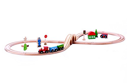 Classic Wooden Toy Train Starter Set - 30 pc Tracks & Accessories, Magnetic Train Cars for Toddlers & Older Kids - Compatible w/ Thomas Tank Engine, Melissa & Doug, Brio, Chugginton Train Sets (Train Starter Set Thomas)