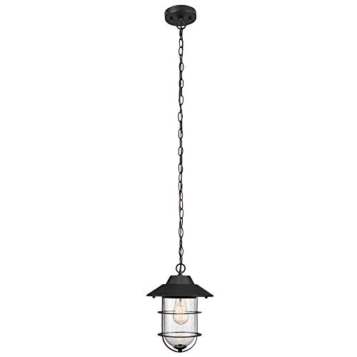 Globe Electric 44334 Matthews Outdoor Pendant, 51.6″, Matte Black
