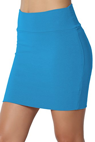 - TheMogan Junior's Stretch Cotton Jersey Lined Bodycon Tube Mini Skirt Turquoise L