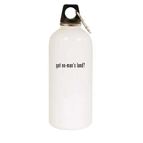 got no-man's land? - 20oz Stainless Steel White Water Bottle with Carabiner, White