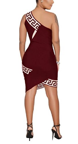 Mini Red s One Summer Bodycon Sleeveless Dress Wine Sexy Shoulder Women Jaycargogo 8n1q87