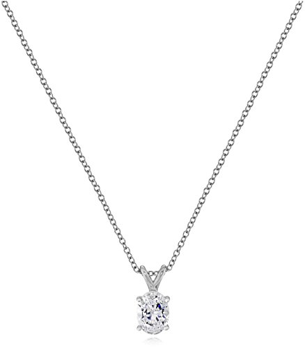 Platinum-Plated Sterling Silver Oval-Shape Solitaire Pendant Neckalce made with Swarovski Zirconia, 16