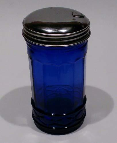 Depression Glass Cobalt (Cobalt Blue Glass Sugar Shaker Dispenser Metal Top)