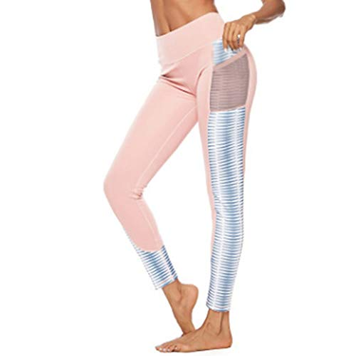 (ASOBIMONO Women's High Waist Yoga Pants with Mesh Pockets Tummy Control Workout Running Leggings for Sports Fitness Gym Pink)