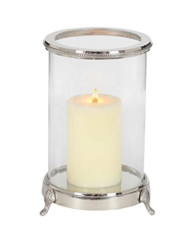Deco 79 42216 Aluminum and Clear Glass Footed Candle Holder, Clear/Silver