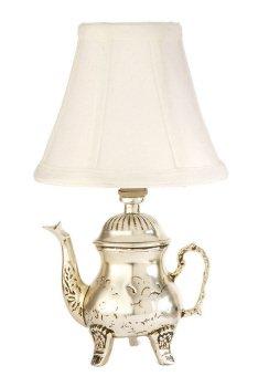Retro Teapot Design Mini Lampwith Fabric Shade. 25W Max. Resin.Sin . Set of 2