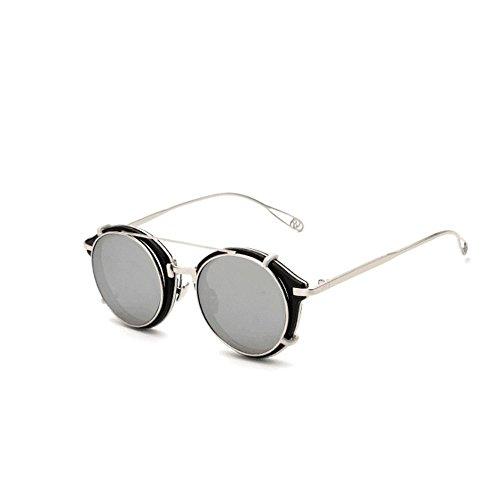 Soleil Silver Leopard Style Ronde Frame UV400 Steampunk Eyewear Color de polarisées Protection Matel Sakuldes Lunettes Silver Vintage n6zWYZxx