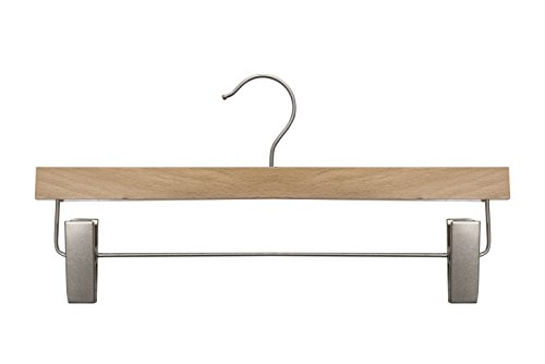 NAHANCO 20614RC Wooden Pant/Skirt Hanger, 14'', Low Gloss Beech Finish (Pack of 100) by NAHANCO