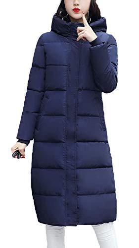 Blue Giaccone Piumini Fashion Locker Taglie Puro Addensare Invernale Caldo Glamorous Cappotto Lunga Trapuntato Colore Semplice Donna Manica Incappucciato Navy Parka Invernali Forti qxwB1UttH