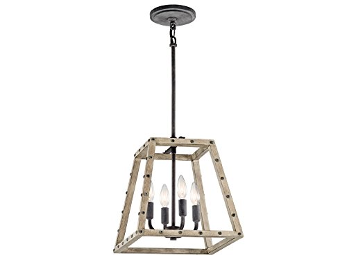 Kichler 43519DAG Basford Indoor Pendant 4-Light, Distressed Antique Gray