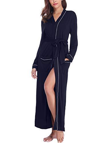 (Sykooria Womens Lightweight Cotton Knit V-Neck Long Kimono Robes Bathrobe Soft Sleepwear Loungewear )