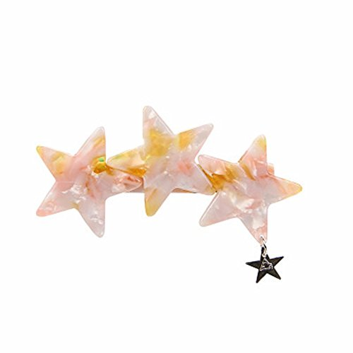 The new top clamp side clamping Star Tortoise color Star Pendant with spring clip hair clip splicing (Pink)