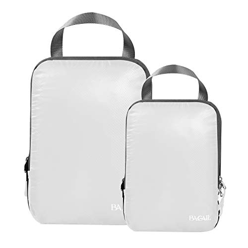 BAGAIL 2 Set Ultralight Compression Packing Cubes Expandable Travel Packing Organizers White(M+S)