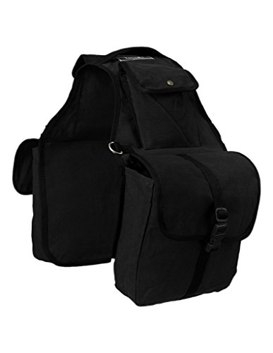 (Tough-1 Canvas Saddle Bag for Horses - Black)