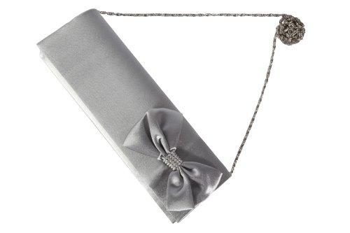 Perfect Pochette À Argenté Main Et Handbags Sac Nœud Satin Avec Strasses Gris qPrAxIqwE