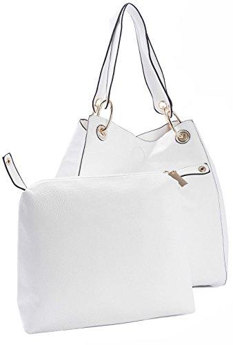spalla Shopper bianca Big stile Shop Handbag Two Donna grande Borsa in secchiello a Designer One qqYSv