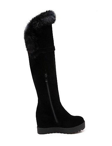 Negro Cuñas Casual La Black 5 Vellón De Xzz Tacón Zapatos Eu39 Uk6 Cn43 Moda Redonda 5 us10 Black A Cuña Cn39 Vestido Mujer Eu42 Punta us8 Botas Uk8 XqZaxO