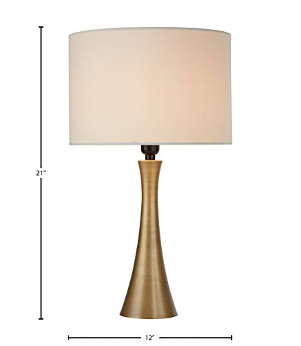 "Amazon Brand – Rivet Mid-Century Modern Needle Sloped Table Desk Lamp with Light Bulb and White Drum Shade, 21""H, Brass - A warm accessory to any room, this sleek, curved table lamp adds high style to your décor while providing pleasing light. A drum shade adds a classic touch. Contemporary style with classic touch Metal with antique brass finish - lamps, bedroom-decor, bedroom - 31GKDuvXH9L -"