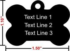 """Black Bone Shape Pet Tags Ships Within 24 Hours Enter Tag Details in """"Gift Message Area At Checkout"""", My Pet Supplies"""