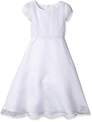 Communion Cap Sleeve a-Line Dress with Pleated Bodice, White, 8 (Angel Communion Dresses)