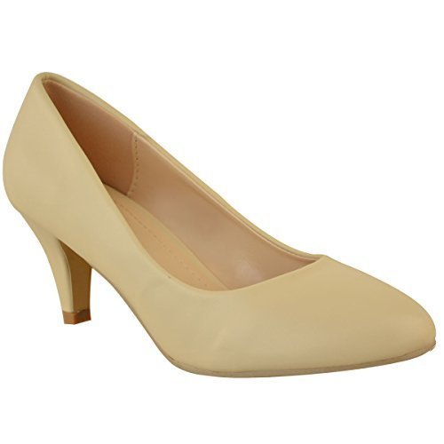 Womens Ladies Low Heel Court Shoes Comfort Work Office Formal Wedding Size New Light Nude Faux Leather / Dark Cream