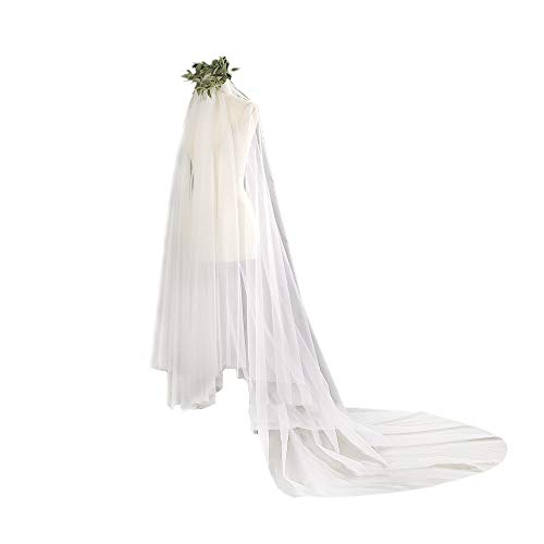 - QWWQWWZLR 4m Long Tail Lace Veil,Wedding Bridal Gown White,Church Elegant Long Trailing Luxury Veils Photography,White