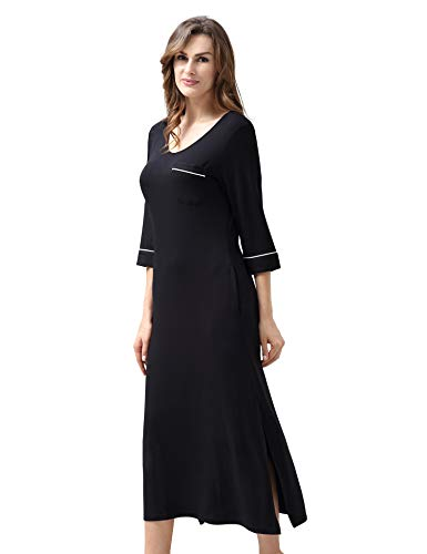 COLORFULLEAF Nightgowns for Women 3/4 Sleeve Soft V Neck Full Length Nightdress (Black, 3XL)