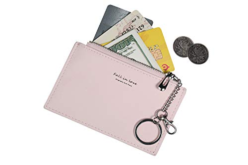 Small Wallets for Women Slim Leather Card Case Holder Cute Coin Purse with Keychains ID Window (A-Pink) -