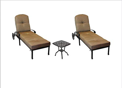 - Elizabeth Outdoor Patio 3pc Chaise Lounges Set Dark Bronze Cast Aluminum (Walnut)