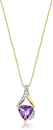 Sterling Silver Trillion-Cut and Diamond Accent Pendant Necklace, 18&