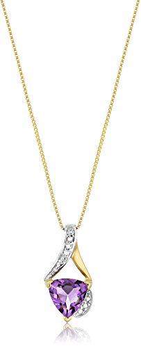 Amethyst Necklace Gold - Sterling Silver Trillion-Cut Amethyst and Diamond Accent Pendant Necklace, 18