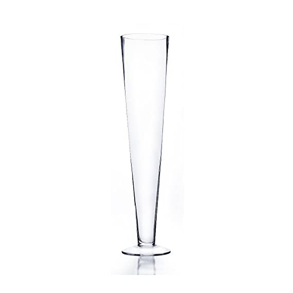 """CYS EXCEL Trumpet Vase, Pilsner Vase (H-24, Open D-4.5"""", Pack of 6 pcs) - CYS Trumpet Vase, Pilsner Vase H-24"""", Open D-4.5"""", Pack of 6 pcs A great choice for wedding and event planners Made of Hand blown clear glass - vases, kitchen-dining-room-decor, kitchen-dining-room - 31GKMPhLmwL. SS570  -"""