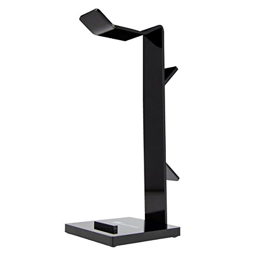 Geekdigg Universal Gaming Headset Headphone Stand Holder Desk Display Rack Hanger with Cable Organizer and Cellphone Tablet Stand - Acrylic Black
