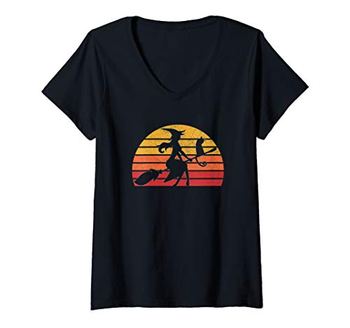 Womens Retro Vintage Witch Halloween Costume Men Women Gift  V-Neck T-Shirt]()