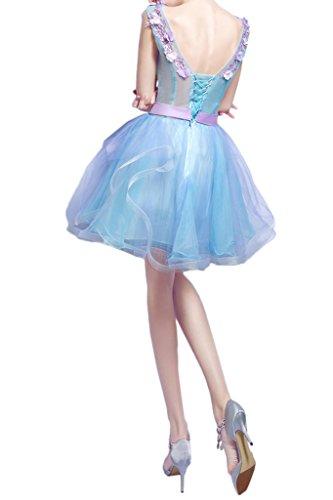 Traumhaft Blau Blumen V Abendkleid Ivydressing Cocktailkleid Festkleid Mini Promkleid Ausschnitt Damen Pq5v4
