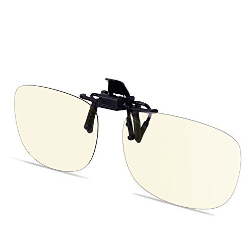 Anti Blue Light Clip-on Flip-up Amber Computer Gaming Video Eyewear Anti Glare and 100% UV Anti Radiation US Optical Award Melanin Sleep Glasses [並行輸入品] B01N7O5NO3